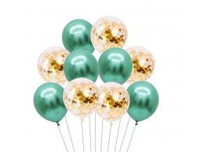 10 Ks mix balonků s konfetami zelenobílé na párty, narozeniny