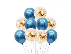 10 Ks mix balonků s konfetami modrobílé na párty, narozeniny