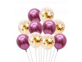 10 Ks mix balonků s konfetami růžovobílé na párty, narozeniny