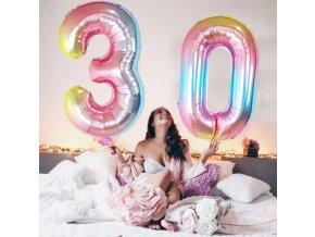 Duhový fóliový balonek ve tvaru číslice od 0-9 na narozeniny, párty