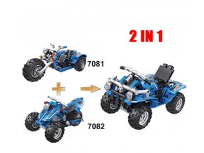Hračky- Stavebnice, 2v1 model čtyřkolka- vlastní sestavení 178 + 172 ks
