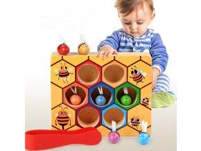 Vzdělávací dřevěná hračka- včelí úl