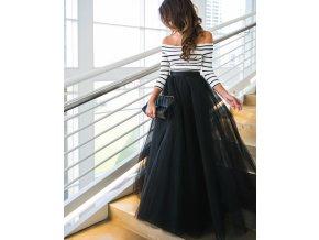 Dámský černo bílý plesový set tylová sukně a top, společenské šaty na ples