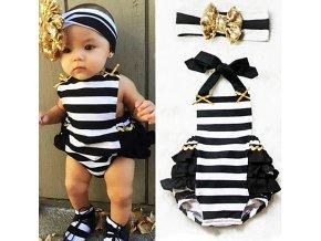 Dětské oblečení- dětské proužkované body s čelenkou pro miminka