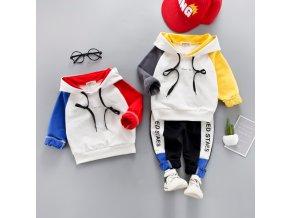 Dětský set sportovní mikina s kapucí a tepláky mix barev