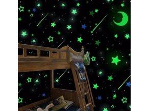 Samolepící svítící hvězdy a měsíc na zeď 20 ks mix barev