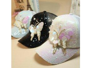 Dámská luxusní kšiltovka s glitry a perlami- růžová, černá