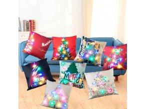 Vánoční dekorace- LED svítící povlak na polštář různé motivy  45x45cm