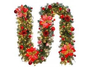 Vánoční dekorace- vánoční světelná girlanda - vánoční led světelný řetěz 270 cm