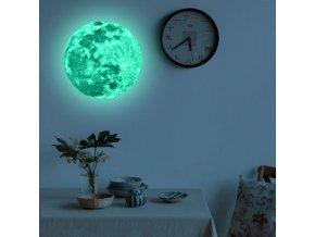 Samolepky na zeď dekolepky - svítící samolepky na zeď měsíc 20 cm