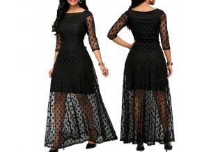 Dámské společenské černé puntíkované šaty