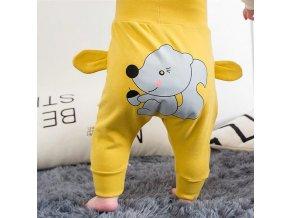 Dětské oblečení- dětské žluté tepláky s vyšším pasem NEW