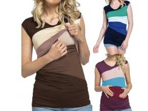 Těhotenské oblečení- těhotenské kojící tričko s barevnými pruhy