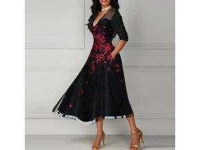 Dámské společenské plesové šaty s růžemi až 2XL