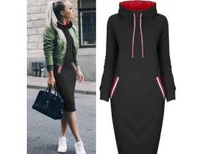 Podzimní mikinové šaty s kapucí až 3XL Černá