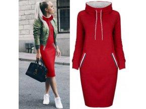 Podzimní mikinové šaty s kapucí až 3XL Červená