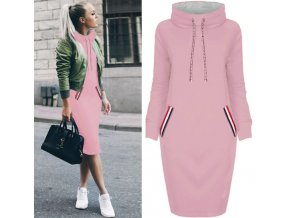 Podzimní mikinové šaty s kapucí až 3XL Růžová