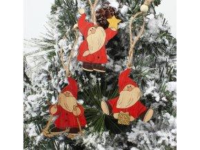 Vánoční dekorace - Set dřevěné ozdoby na stromeček Santa- 2 varianty