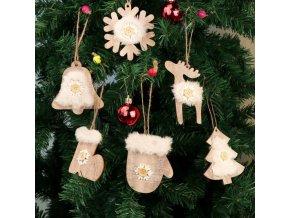 Vánoční dekorace - Set 6 ks dřevěných ozdob na stromeček