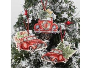 Vánoční dekorace - Set 3 ks dřevěných ozdob na stromeček Auto