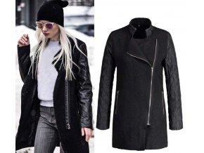 Dámský černý kabát s rukávy z koženky