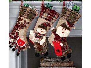 Vánoční dekorace- Vánoční ponožka nad krb Santa, Sněhulák, Sob