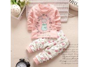 Dětský set tričko s dlouhým rukávem a tepláky Zajíc