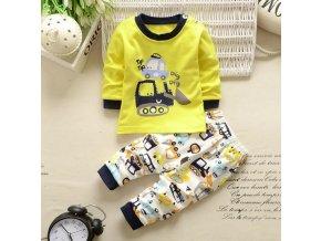 Dětský set tričko s dlouhým rukávem a tepláky Auta