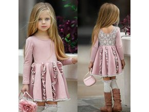 Oblečení pro děti levné dětské oblečení dětské oblečení - dívčí šaty s nabíranou sukní a krajkou