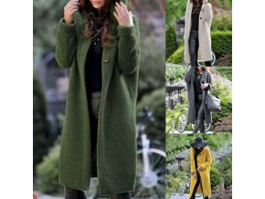 Dámský teplý podzimní kardigan s kapucí až 5XL