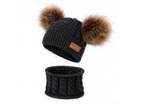 Pro děti zimní čepice dětské zimní čepice zimní čepičky - stylový set čepice + nákrčník 12 barev