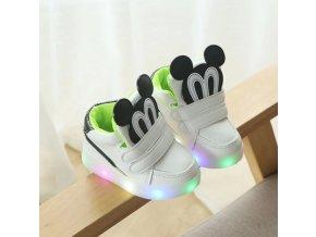 Dětské boty- LED svítící bílé boty pro dívky a chlapce