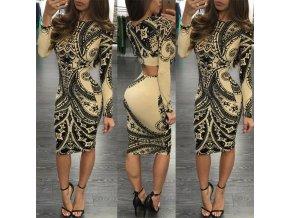 Luxusní dámské dlouhé vzorované šaty (Velikost XL)