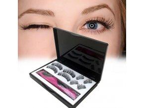 Krása make up líčení umělé řasy prodlužování řas magnetické řasy - 4 páry magnetických řas s aplikátorem