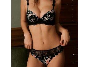 Dárky pro ženy- dámské erotické spodní prádlo- květovaný komplet s krajkou podprsenka a kalhotky