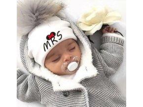 Čepice- dětská teplá bílá čepice s bambulí MRS