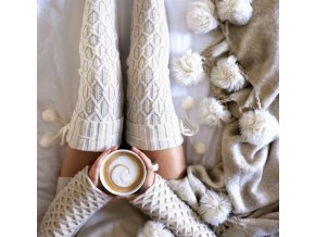 Teplé pletené dámské nadkolenky