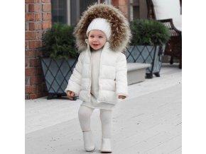 Dívčí bílá bunda s kožíškem- VÝPRODEJ SKLADU