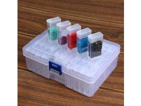 Úložný organizér plastový box s 42 malými krabičkami s víčkem