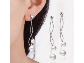 Dámské elegantní visací náušnice s perlami- skvělý tip na dárek