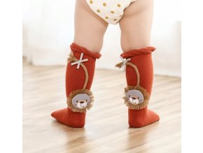 Dětské oblečení- Roztomilé dlouhé ponožky, podkolenky s lvíčkem, více barev