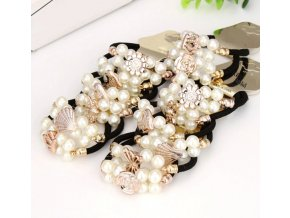 Pro dívky- gumičky do vlasů s perličkami 10ks černé- Tip na dárek