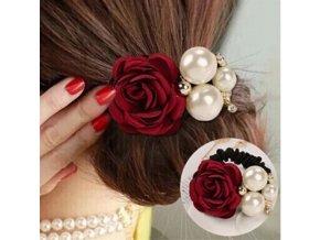 Pro dívky- krásná gumička do vlasů s růží a perličkami více barev- Tip na dárek