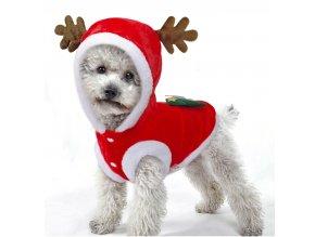 Vánoční červený obleček sob pro malé psy a kočky- Pro domácí mazlíčky