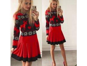 Vánoční dámské společenské červené šaty až 2XL