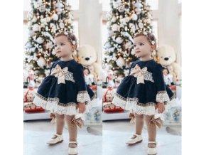 Dětské oblečení- Dívčí sváteční šaty s krajkou a mašlí