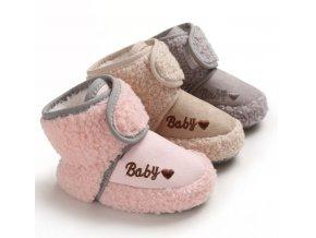 Dětské boty- teplé capáčky pro nejmenší na suchý zip