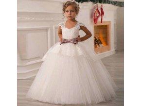 Dětské Oblečení- Dívčí princeznovské sváteční svatební bílé šaty s mašlí