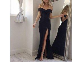 Dlouhé černé elegantní šaty s rozparkem a odhalenými rameny (Velikost XL)