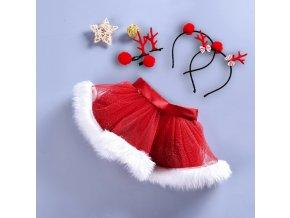 Dětské oblečení- Vánoční dívčí set sukýnka s čelenkou a sponkami Sob- 2 druhy